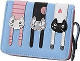 【ノーブランド品】かわいい猫柄の ミニ財布 かわいい 二つ折り財布 ガールズ レディース ブルー