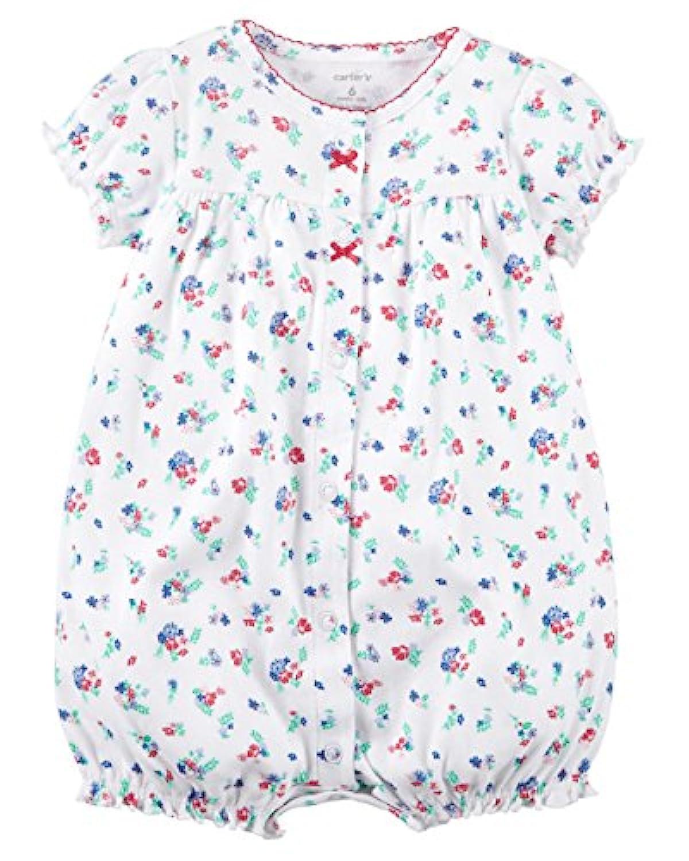 カーターズ Carter's ロンパース 半袖 ショートオール ベビー服 女の子 白小花 (12months(72-78cm)) [並行輸入品]