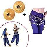 Finger Cymbals Music Instrument Rhythm Maker Finger Cymbals Belly Dancing Gold Musical Instrument with Bellydance Hip Scarf With Gold Coins Skirts Wrap Noisy [Pick Jesus] [並行輸入品]
