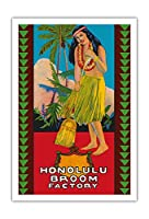 ホノルル ほうき工場 - ハワイアンフラガール - ビンテージな広告ポスター c.1950s - アートポスター - 76cm x 112cm
