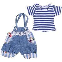 Dovewill  12インチブライスドール対応 ストライプ 半袖 Tシャツ サスペンダー  ジーンズ  パンツ セット 人形 服