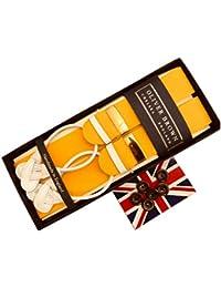 (アルバートサーストン) ALBERT THURSTON サスペンダー メンズ 紳士 ブレイス ボタン止め 英国製 手縫い ボックス BOX handstitched ホワイトエンド Yellow イエロー B222