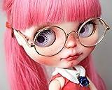 ラコステ 通販 (ドーリア)Dollia ネオブライス用アクセサリ 丸メガネ 眼鏡 レンズ ゴールド ブラック ブライス ドール (ゴールド)