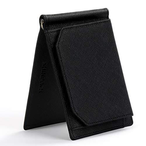 SHINPACK マネークリップ メンズ 小銭入れ付き 牛革 本革 二つ折り 財布 薄い ブラック