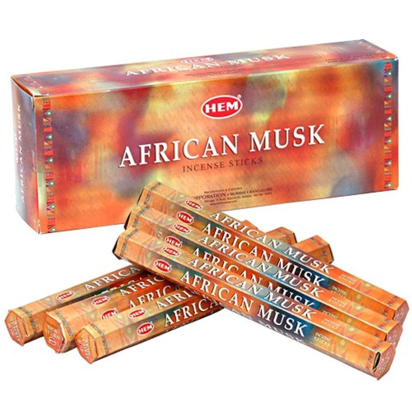 反響する気配りのあるクラックポットHEM (ヘム) インセンス スティック へキサパック アフリカン?ムスク 6角(20本入)×6箱 [並行輸入品]Aerican Musk