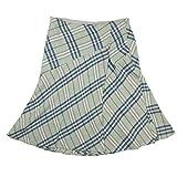 (バーバリー ブルーレーベル) BURBERRY BLUELABEL #38 Mサイズ 麻混 チェック柄 マーメイドライン スカート ライトブルー 22681eSaM 中古