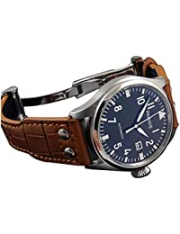 Karlien Parnis パイロットウォッチ 47mm ブラックの文字盤 白の数字 メンズ 自動カレンダー 蛍光シルバー腕時計