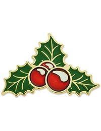 Pinmart 's Christmas Holly BerryクリスマスヤドリギHolidayラペルピン 10 ゴールド