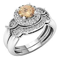 18Kホワイトゴールド6mmラウンド宝石&ホワイトダイヤモンドレディースブライダルヘイロー婚約リングセット