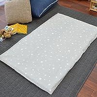 お昼寝布団 カバー 綿100% 敷き布団カバー 75×125cm スター グレー かわいい ファスナー