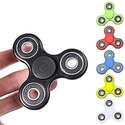 Smato 指スピナー Fidget Spinner Toy 指スピナー スピン ウィジェット フォーカス玩具 ハンドスピナー 三角 こま ストレス解消 EDC グッズ ADHD子供大人に適用 (ブラック)