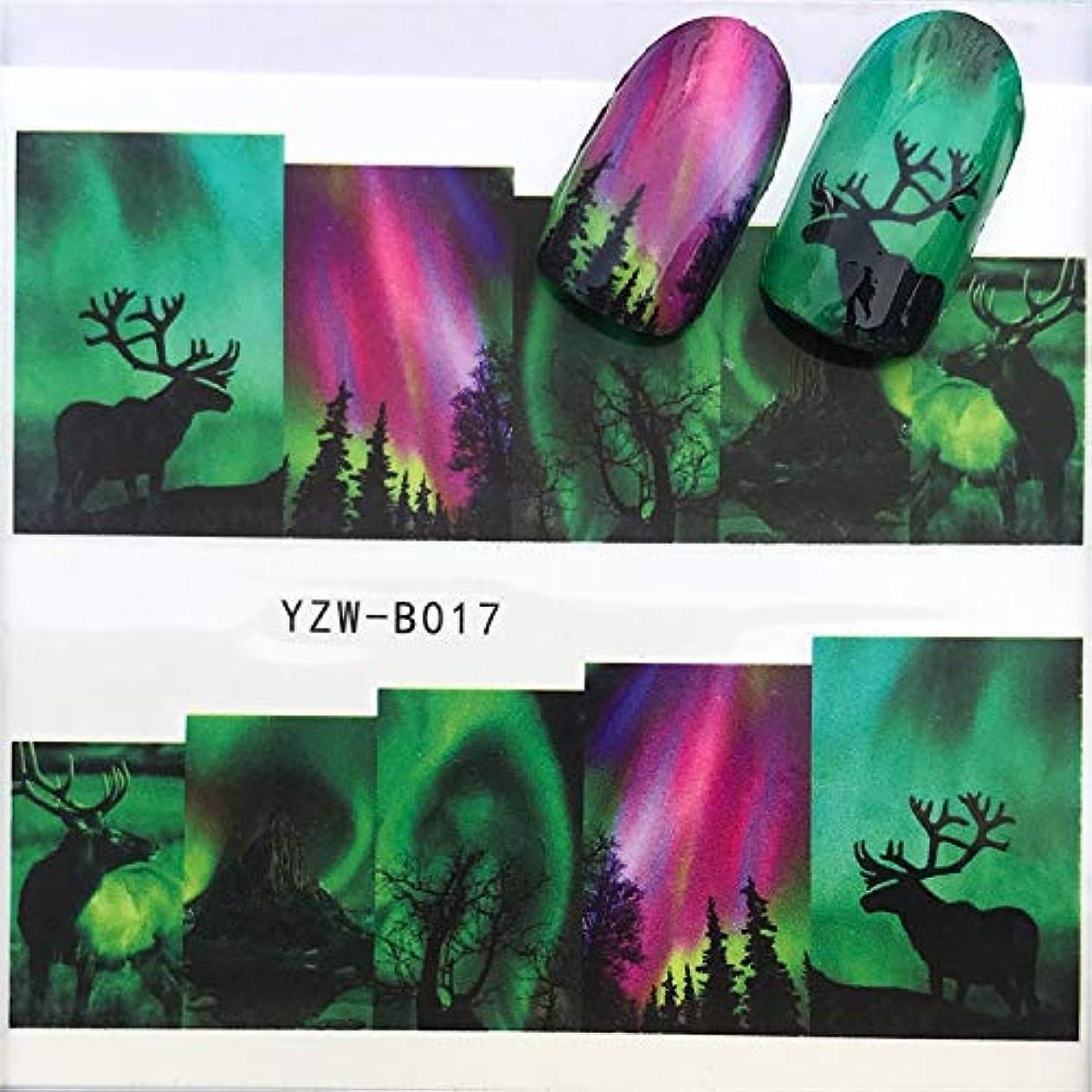 偽装する広い側溝Flysea ネイルステッカー3 PCSネイルステッカーセットデカール水スライダーネイルズアート装飾、色転送:YZWB017を