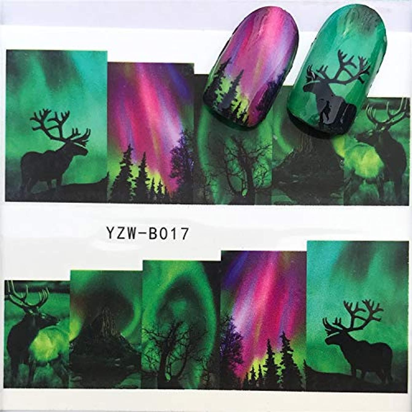 表現毛布きゅうりYan 3個ネイルステッカーセットデカール水転写スライダーネイルアートデコレーション、色:YZWB018