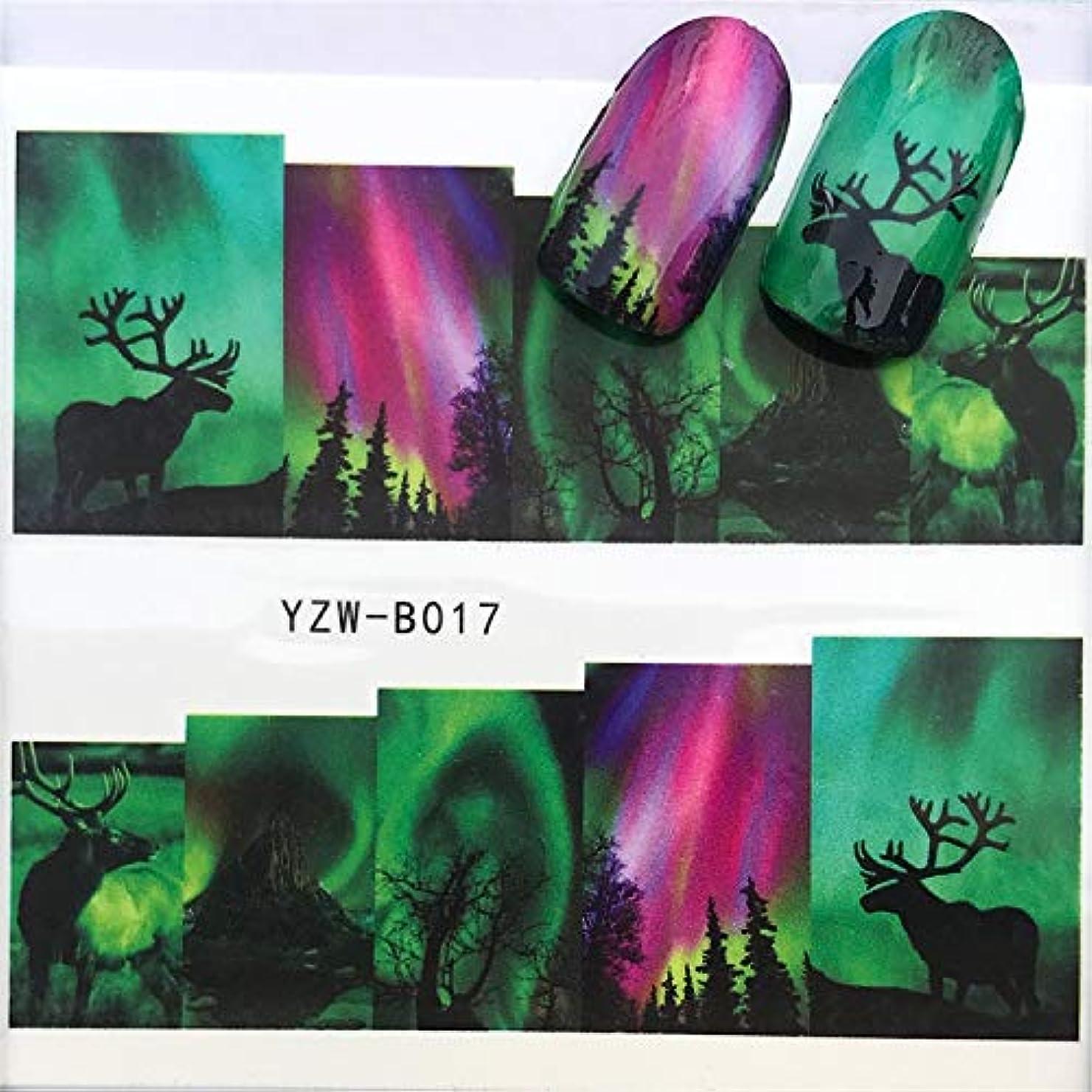 Yan 3個ネイルステッカーセットデカール水転写スライダーネイルアートデコレーション、色:YZWB018