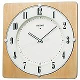 SEIKO CLOCK (セイコークロック) 掛け時計 電波 アナログ 四角型 木枠 天然色木地 KX382B