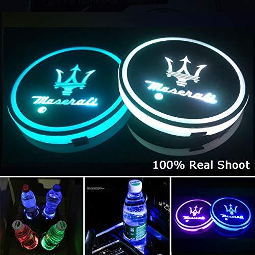 YenCar 車用 LED ドリンクホルダー レインボーコースター 車載 ロゴ ディスプレイライト LEDカーカップホルダー マットパッド (マセラティMaserati)