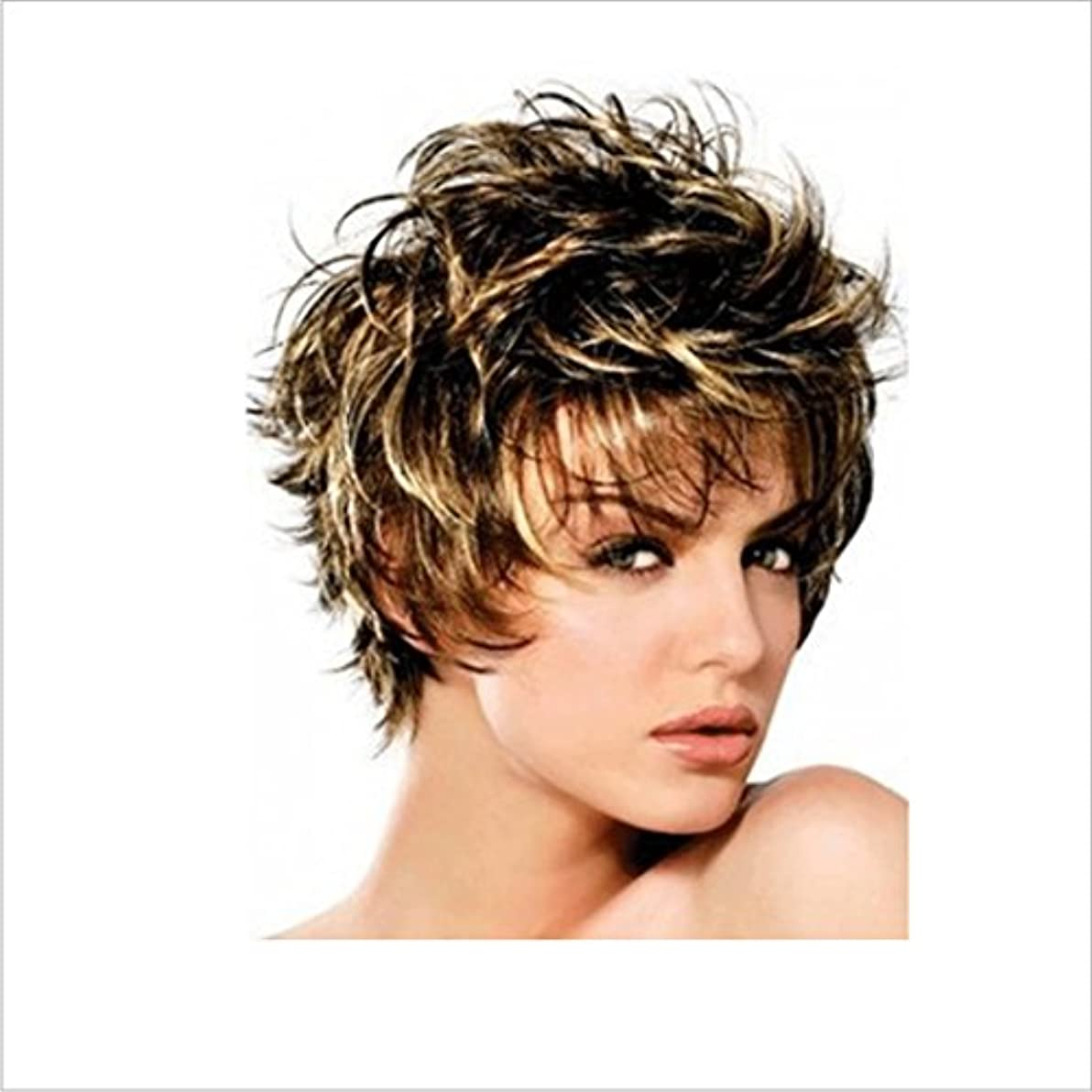 旋回合理的広いかつら ボボかつら女性用耐熱ウィッグ12インチ/ 9インチ短いテクスチャ部分的なかつら部分的なかつら前髪かつらファッションかつら (色 : Inter-color gold brown silver)