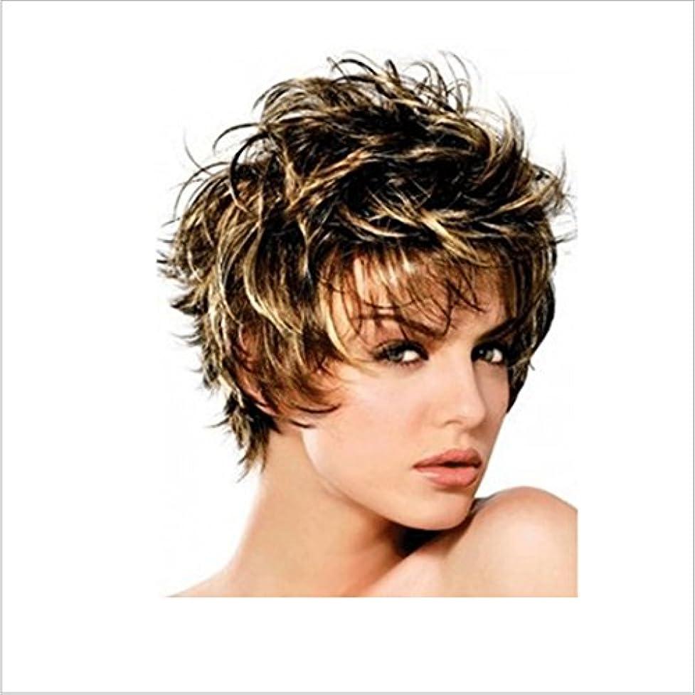 ビヨン安定した老朽化したかつら ボボかつら女性用耐熱ウィッグ12インチ/ 9インチ短いテクスチャ部分的なかつら部分的なかつら前髪かつらファッションかつら (色 : Inter-color gold brown silver)