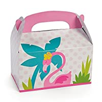 """12 ~ Flamingo/Luau Treat Boxes ~ 6 1/4""""x 3 1/2""""x 5""""with 1 1/2""""handle ~ Simple Assembly Required ~ Lightweight Cardboard ~ New [並行輸入品]"""
