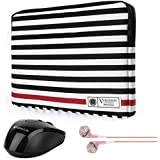 """Vangoddy Luxe R Series Black White Stripe Lightweight Padded Sleeve for Dragon Touch A1 Plus / i10X / Artisul D10 10.1"""" / Huawei Matebook 12"""" / Jumper EZpad 5s 11.6"""" Tablet + Wireless Mouse + Earbud [並行輸入品]"""