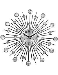 [アイルポ] おしゃれでモダンな デザイン 壁掛け時計 (スートンが輝くステンレスシルバー)