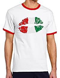 男性着 半袖Tシャツ イタリア リップ プリント ファッション V首 吸汗 Tシャツ スポーツ 普段着 Red Size L