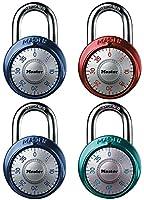 マスターロック1561dast組み合わせダイヤル南京錠、アルミのカバー、1–7/ 8インチ幅、4色May Vary , 4- Pack
