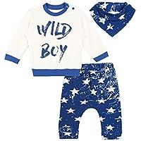Lilax Baby Boy Long Sleeve Wild Boy Print Top Star Pants and Bandana 3 Piece Set 9M Blue [並行輸入品]