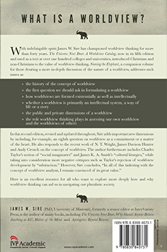 naming the elephant Reviewed in conjunction with the universe next door: a basic worldview catalog (sire) popular author and former editor of intervarsity press, james sire has returned to sharpen his understanding of worldview, prodded in part.