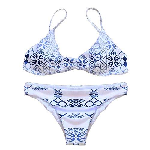 Miyinla レディース分体水着 ビキニ セクシーで魅力的 ビキニセット UVケアビキニ 海水浴 グラデーション色染付磁器のプリント 胸を集める ホワイト M