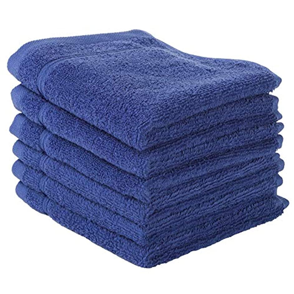 寝具内部些細(Washcloth - Set of 6, Navy Blue) - 6 PACK Washcloth Towels Set Premium Quality Luxury Turkish Cotton Absorbent...