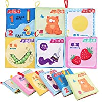 (6 in 1 Pack) - Baby Fabric Book Early Education Toys Chinese-English Bilingual Learning Toys Baby Non-Toxic Cloth Book Washable (6 in 1 pack)
