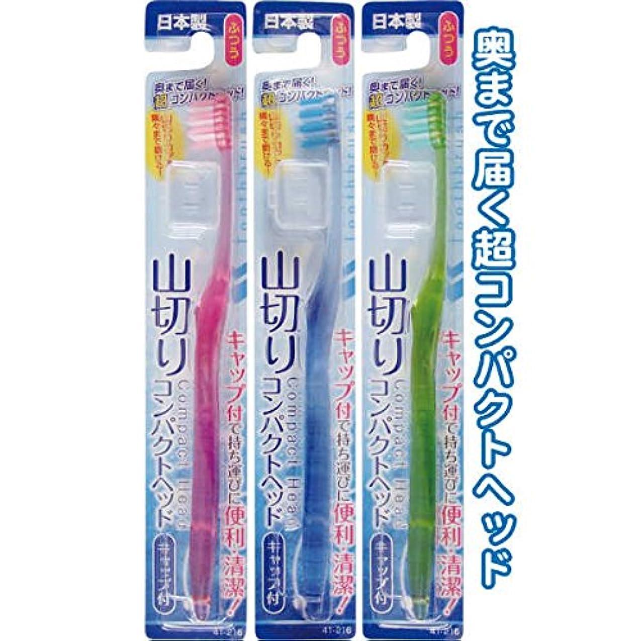 コンパクトヘッドキャップ付歯ブラシ山切ふつう日本製 japan 【まとめ買い12個セット】 41-216