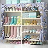 靴箱_靴の二重列6層36ペア、ファブリック防塵アセンブリ多機能ソリッドウッドの靴のキャビネットから選択するスタイルの様々な