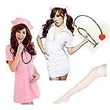 【ELEEJE】 選べるカラーの可愛いミニスカナース コスプレ衣装 豪華5点セット ハロウィンコスプレ (白)