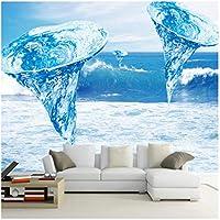 Mrlwy 壁画壁紙リビングルーム装飾背景写真壁紙美しいブルー竜巻海水-150X120CM