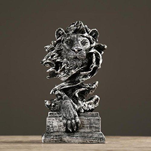 Wddwarmhome レトロクリエイティブ樹脂彫刻ライオンクラフト装飾カフェパーラーオフィス装飾家具ギフト、16 * 14 * 31センチメートル ( 色 : B )
