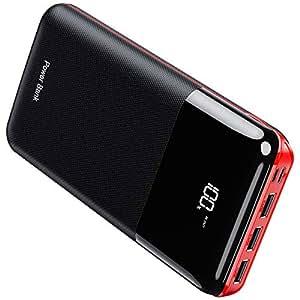 モバイルバッテリー 大容量 25000mAh 急速充電 LCD残量表示 PSE認証済 Type-CとMicro入力ポート(2.4A+2.4A) 3USB出力ポート(2.4A+2.4A+2.4A) スマホ充電器 iPhone/iPad/Android各種対応 (Black&Red)