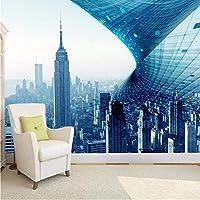 Wuyyii 壁紙フレスコカスタムリビングルームの寝室の3Dグローブ抽象的な建築スペースモダンな青い背景の壁の壁紙-280X200Cm