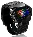 【正規品説明書付】デジタル 腕時計 防水 万能タイプ腕時計 電池セット済 男女兼用 (ブラック)