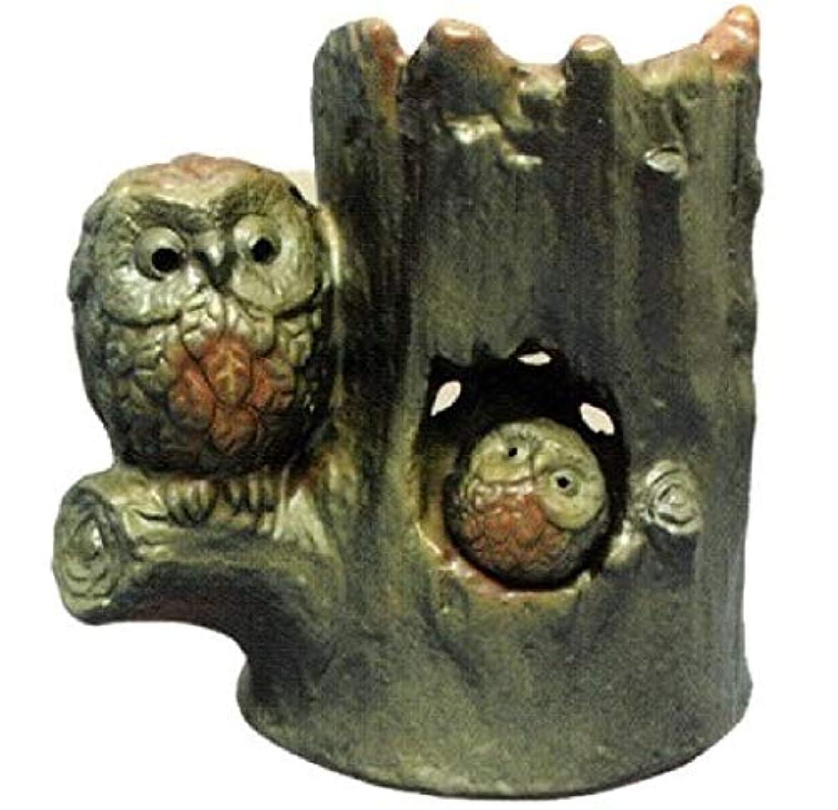 乗り出す神話好奇心盛常滑焼 ?39-11 茶香炉ゆとり 木立ふくろう   ロウソク1ヶ付 径14×13
