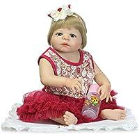 Reborn新生児ガールズフルボディシリコンベビービニール人形22インチRealistic子供ギフトwith磁気口ショートウィッグ