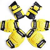 WinLine キッズプロテクター 膝 肘 手首 スポーツプロテクター 保護パッド 6点セット 3色 (イエロー)