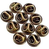 ピンバッジ の 留め具 バタフライ型 アンティーク 真鍮 色 10個で1セット キャッチ ピンズ 用