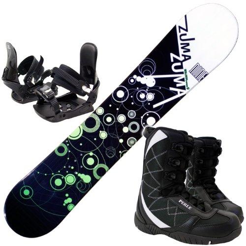 ツマ(ZUMA) 3点セット スノーボード WAVE-9 グリーン158cm 金具M/L ブーツ27cm ワックス施工付き