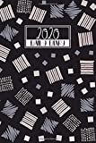 2020 Daily Diary: A5 Day on a Page to View Full DO1P Planner Lined Writing Journal | Black Pink &Grey Doodle Squares Abstract (2020 Daily Diaries)