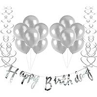 誕生日 飾り付け バルーン HAPPY BIRTHDAY ガーランド 渦巻き 装飾 風船 セット ーティー 誕生日 記念日 飾り 風船(シルバー)J027