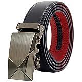 MACBELT (マックベルト) 穴無し ベルト メンズ ビジネス 本革 レザー 革 調節可能 ロングサイズ 専用箱&説明書付 130cm ブラックレッド MBR-777