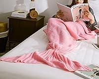 """iSunShineマーメイドテールBlanketかぎ針編みの子供と大人、すべての季節ソフトニットブランケットSleepingバッグ Adult-32""""x71"""" ピンク MRY-0818-Pink"""