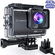 【進化版4K/50FPS】Crosstourアクションカメラ 4K 20MP解像度 Wi-Fi 40M防水 水中カメラ 6軸EIS手ブレ補正 タイムラプス ループ録画 連写 スロモーション2つ1350mAhバッテリー U